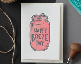 Linocut Printmaking Card - Happy Booze Day, Happy Birthday Card, Lino Print, Relief Print, Block Print, Printmaking