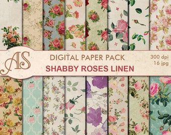 Digital Shabby Roses Linen Paper Pack, 16 printable Digital Scrapbooking papers, retro roses Digital Collage, Instant Download, set 272