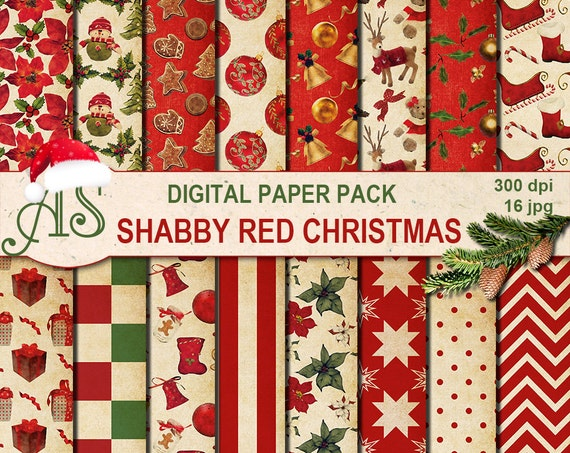 Fabulous Digital Shabby Chic Red Christmas Pack 16 Printable Digital Scrapbooking Papers Vintage New Year Decoupage Instant Download Set 253 Beutiful Home Inspiration Xortanetmahrainfo