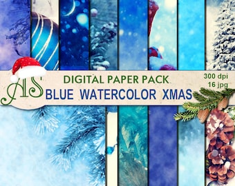 Digital Blue Watercolor Christmas Paper Pack, 16 printable Digital Scrapbooking papers, blue new year decoupage, Instant Download, set 236