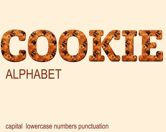 Digital Cookie Alphabet for scrapbooking, Papercrafts, Decor, Fabric, Pillow, christmas food clip art, Instant Download, #62