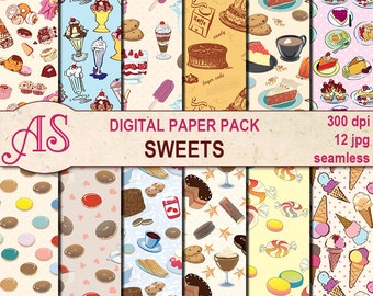 Digital Sweets Seamless Paper Pack, 12 printable Digital Scrapbooking papers, dessert Digital Collage, Instant Download, set 51