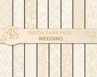 Digital Damask floral Wedding Paper Pack, 16 printable Digital Scrapbooking papers, beige paper, Instant Download, set 280