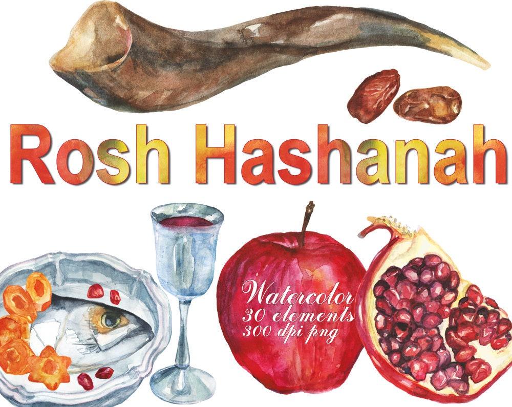 Digital Rosh Hashanah Watercolor Clipart For Scrapbooking Etsy