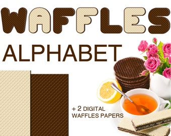 Digital Sweet Waffles Alphabet for scrapbooking, Papercrafts, food clipart, Fabric, Tea Towel, Printable Lettering, Instant Download, #26