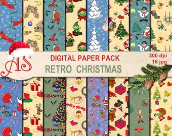 Digital Retro Christmas Paper Pack, 16 printable Digital Scrapbooking papers, Digital Collage, vintage new year, Instant Download, set 258