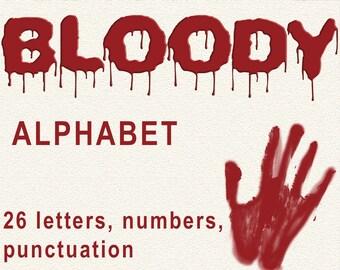 Digital Bloody Alphabet for scrapbooking, Halloween Papercrafts, horror Printable Lettering, Instant Download, #55