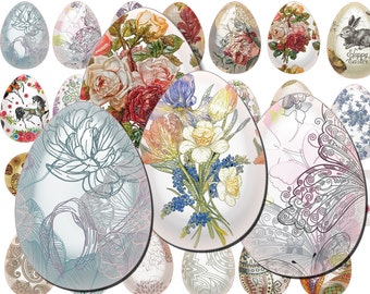 40 Digital Easter Spring Glass eggs tags, Gift tags, Hang tags, Egg label, Printable, Happy Easter, Digital Collage, Instant Download