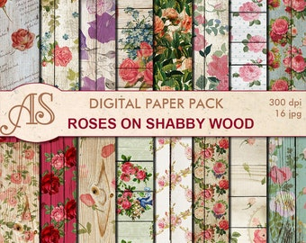Digital Shabby Roses on Wood Paper Pack, 16 printable Digital Scrapbooking papers, retro roses Digital Collage, Instant Download, set 270