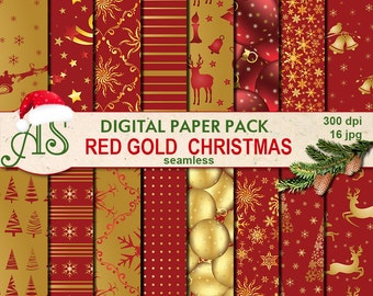 Digital Red Gold Christmas Seamless Paper Pack, 16 printable Digital Scrapbooking papers, Digital Collage, new year, Instant Download,set219