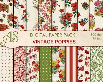 Digital Vintage Shabby Chic Poppies Paper Pack, 16 printable Digital Scrapbooking papers, distress floral papers, Instant Download, set 283