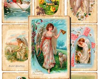 40 Digital Vintage Easter cards, Gift tags, Hang tags, easter label, Printable, Happy Easter, Digital Collage, Instant Download, tag 6