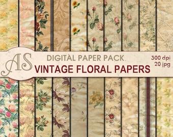 Digital Vintage Floral Paper Pack, 20 printable Digital Scrapbooking papers, damaged papers, Decoupage papers, Instant Download, set 112