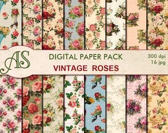 Digital Vintage Roses Paper Pack, 16 printable Digital Scrapbooking papers, floral collage, shabby chic roses, Instant Download, set 286