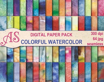 Digital  Colorful Watercolor Seamless Paper Pack, 64 printable Digital Scrapbooking papers, watercolour Collage, Instant Download, set 343