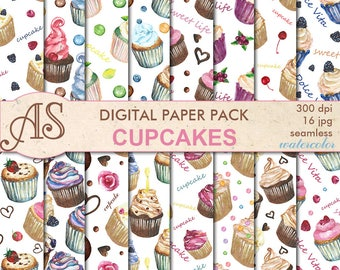 Digital Watercolor Cupcakes Seamless Paper Pack, 16 printable Digital Scrapbooking papers, dessert Digital Collage, Instant Download, set362