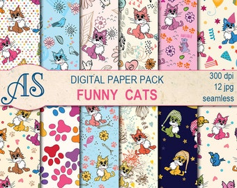 Digital Funny Cats Paper Pack, 12 printable Seamless scrapbooking papers, cats Digital Collage, kids pattern, Instant Download, set 24