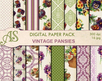 Digital Vintage Shabby Chic Pansies  Paper Pack, 16 printable Digital Scrapbooking papers, distress floral papers, Instant Download, set 282