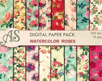 Digital Watercolor Roses Paper Pack, 16 printable Digital Scrapbooking papers, floral Digital Collage, Instant Download, set 291