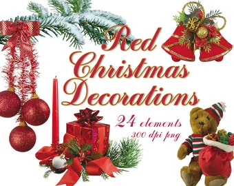 Digital Red Christmas Decorations clip art, 16 elements, new year Digital Collage, printable Digital Scrapbooking, Instant Download, clip 31