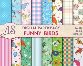 Digital Funny Birds Seamless Paper Pack, 16 printable Digital Scrapbooking papers, kids Digital Collage, Instant Download, set 16
