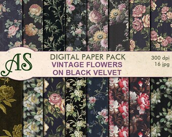 Digital Vintage Flowers on black Paper Pack, 16 printable Digital Scrapbooking papers, floral Digital Collage, Instant Download, set 173