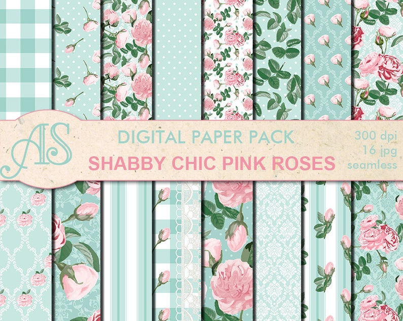 Pleasant Digital Shabby Chic Pink Roses Seamless Paper Pack 16 Printable Digital Scrapbooking Papers Retro Roses Collage Instant Download Set 276 Beutiful Home Inspiration Xortanetmahrainfo