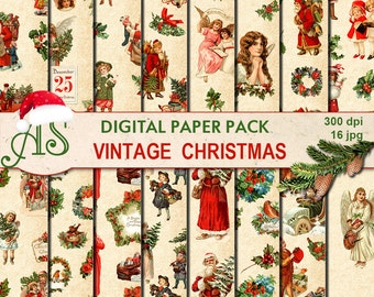 Digital Vintage Christmas Paper Pack, 16 printable Digital Scrapbooking papers, Digital Collage, new year clipart, Instant Download, set 225