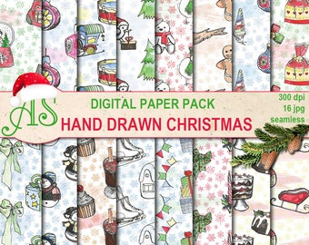 Digital Hand drawn Christmas Seamless Paper Pack, 16 Scrapbooking papers, watercolor, doodle Digital Collage, Instant Download, set 347