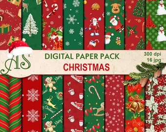 Digital Retro Christmas Paper Pack, 16 printable Digital Scrapbooking papers, red green Digital Collage, Instant Download, set 226