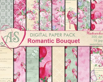 Digital Romantic Bouquet Paper Pack, 16 printable Digital Scrapbooking seamless papers, Valentines Digital Collage, Instant Download,set 355
