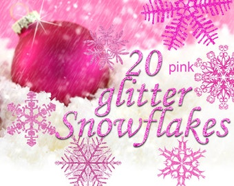 Digital 20  Pink Glitter Snowflakes, 20, snowflakes clipart, winter christmas clip art, new year Digital Collage, Instant Download