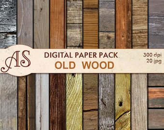 Digital Old Wood Paper Pack, 20 printable Digital Scrapbooking papers, Wooden Collage, Decoupage papers, Instant Download, set 200b