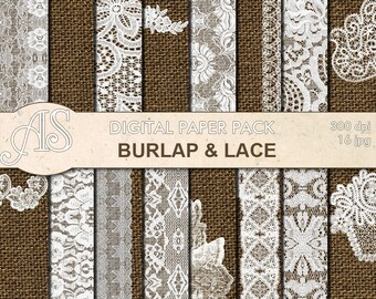 Digital Vintage Burlap and Lace Paper Pack, 16 printable Digital Scrapbooking papers, fabric paper, Instant Download, set 279