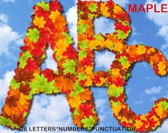 Digital Autumn Maple Leaves Alphabet, floral Alphabet, maple leaves clip art, Printable Lettering, Instant Download, #54