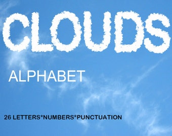 Digital Clouds Alphabet, Summer Alphabet, photorealistic letters, Printable Lettering, Instant Download, #53