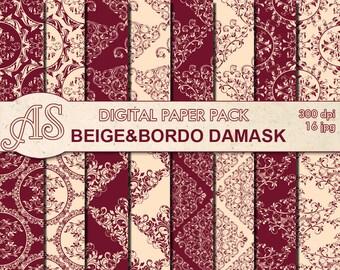 Digital Floral Beige Bordo Damask Paper Pack, 16 printable Digital Scrapbooking papers, damask Digital Collage, Instant Download, set 302
