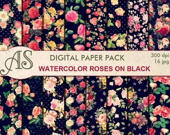 Digital Watercolor Roses on black Paper Pack, 16 printable Digital Scrapbooking papers, floral Digital Collage, Instant Download, set 290
