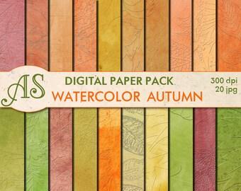 Digital Embossed Watercolor Autumn Paper Pack, 20 printable Digital Scrapbooking papers, Leaves Digital Collage, Instant Download, set 39