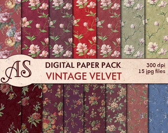 Digital Vintage Floral Velvet Paper Pack, 15 printable Digital Scrapbooking papers,  Digital Collage, Instant Download, set 2