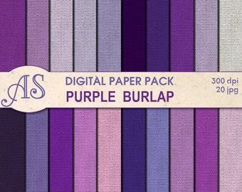 Digital Purple Color Burlap Paper Pack, 20 printable Digital Scrapbooking papers, violet Fabric Digital Collage, Instant Download, set 81