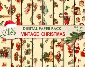 Digital Vintage Christmas Paper Pack, 16 printable Digital Scrapbooking papers, Digital Collage, new year clipart, Instant Download, set 228
