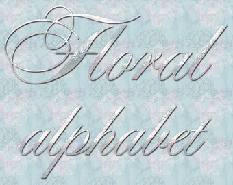 Digital Floral Alphabet, for scrapbooking, gift, Papercrafts, Wedding Decor, Instant Download, printable lettering, rose mint, #10