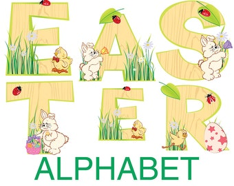 Digital Easter Rabbit and eggs Alphabet for scrapbooking, gift, Papercrafts, Decor, Fabric, Pillow, Tea Towel, Instant Download, #7