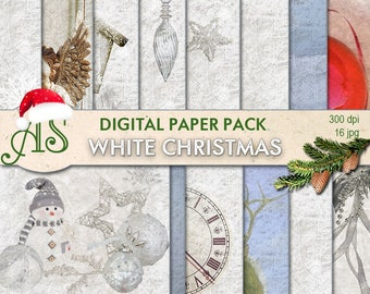 Digital White Christmas Paper Pack, 16 printable Digital Scrapbooking papers, white new year collage, decoupage, Instant Download, set 183