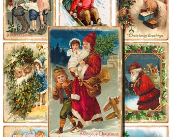 40 Digital Vintage Christmas cards, Gift tags, new year Hang tags, Christmas label, Printable tags, Santa Digital Collage, Instant Download