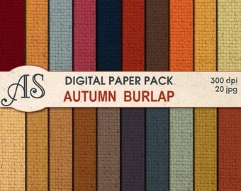 Digital Autumn Color Burlap Paper Pack, 20 printable Digital Scrapbooking papers, Fabric Digital Collage, Instant Download, set 256