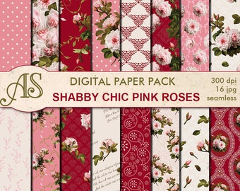 Digital Shabby Chic Pink Roses Seamless Paper Pack, 16 printable Scrapbooking papers, retro roses Digital Collage, Instant Download, set 217