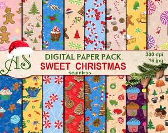 Digital Sweet Christmas Seamless Paper Pack, 16 printable Digital Scrapbooking papers, gingerbread clip art, Instant Download, set210