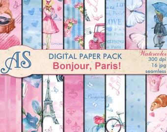 Digital Bonjour Paris Paper Pack, 16 printable Digital Scrapbooking seamless papers, Valentines Digital Collage, Instant Download, set 354